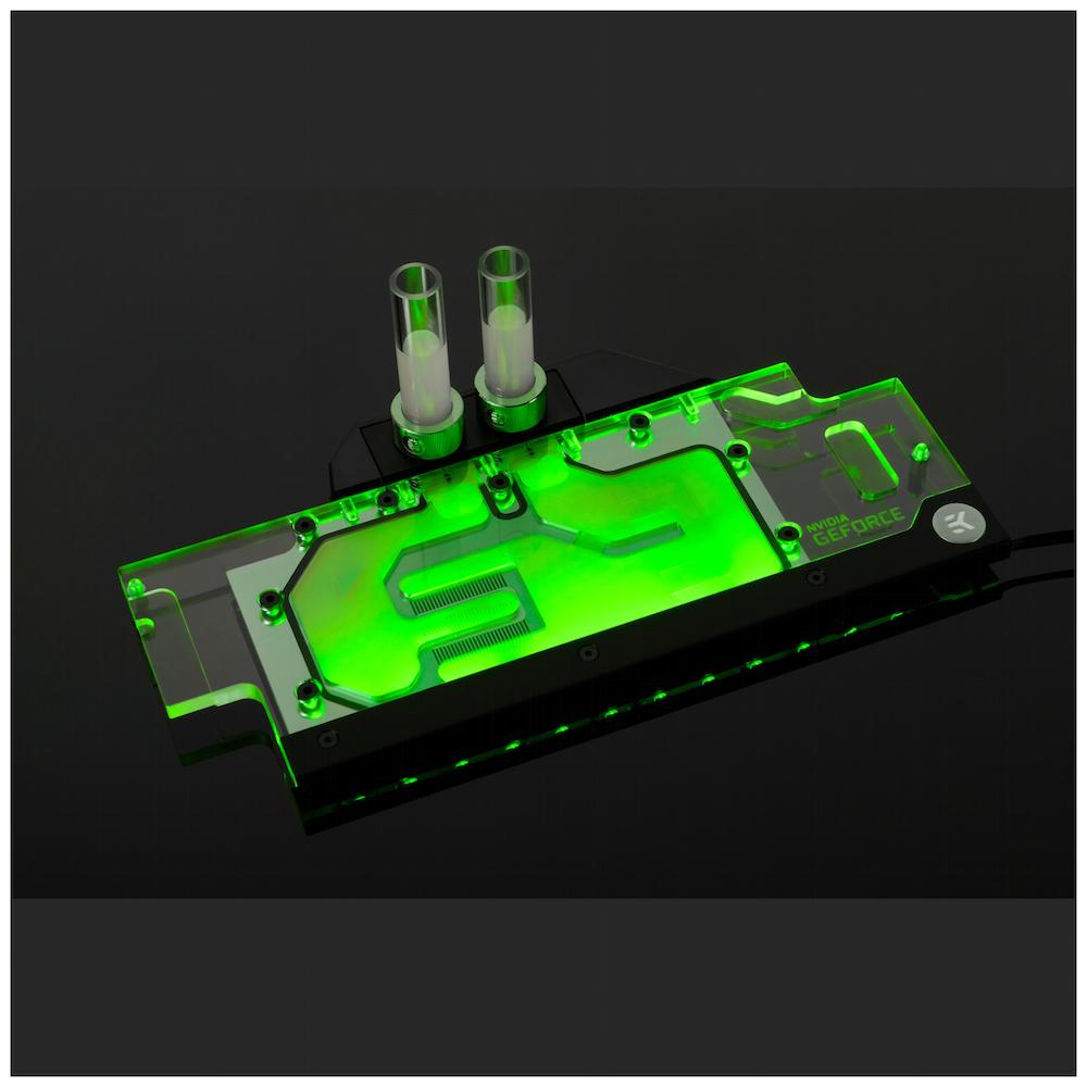 A large main feature product image of EK FC1070 GTX Ti ASUS RGB Plexi/Nickel Nvidia GPU Waterblock