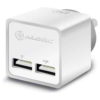 Product image of ALOGIC 2 Port USB Mini Wall Charger - 2.4A + 1A - 17W - White - Click for product page of ALOGIC 2 Port USB Mini Wall Charger - 2.4A + 1A - 17W - White