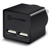 A product image of ALOGIC 2 Port USB Mini Wall Charger - 2.4A + 1A - 17W - Black
