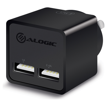 Product image of ALOGIC 2 Port USB Mini Wall Charger - 2.4A + 1A - 17W - Black - Click for product page of ALOGIC 2 Port USB Mini Wall Charger - 2.4A + 1A - 17W - Black
