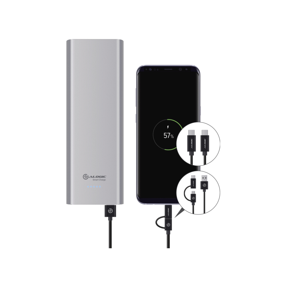 A large main feature product image of ALOGIC Prime Series USB Type-C 20100mAh Portable Power Bank with Dual Output - Space Grey