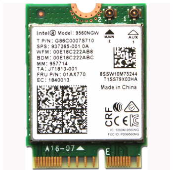 Product image of Intel 9560 802.11ac & Bluetooth Dual-Band Wireless M.2 Adapter (NV) - Click for product page of Intel 9560 802.11ac & Bluetooth Dual-Band Wireless M.2 Adapter (NV)