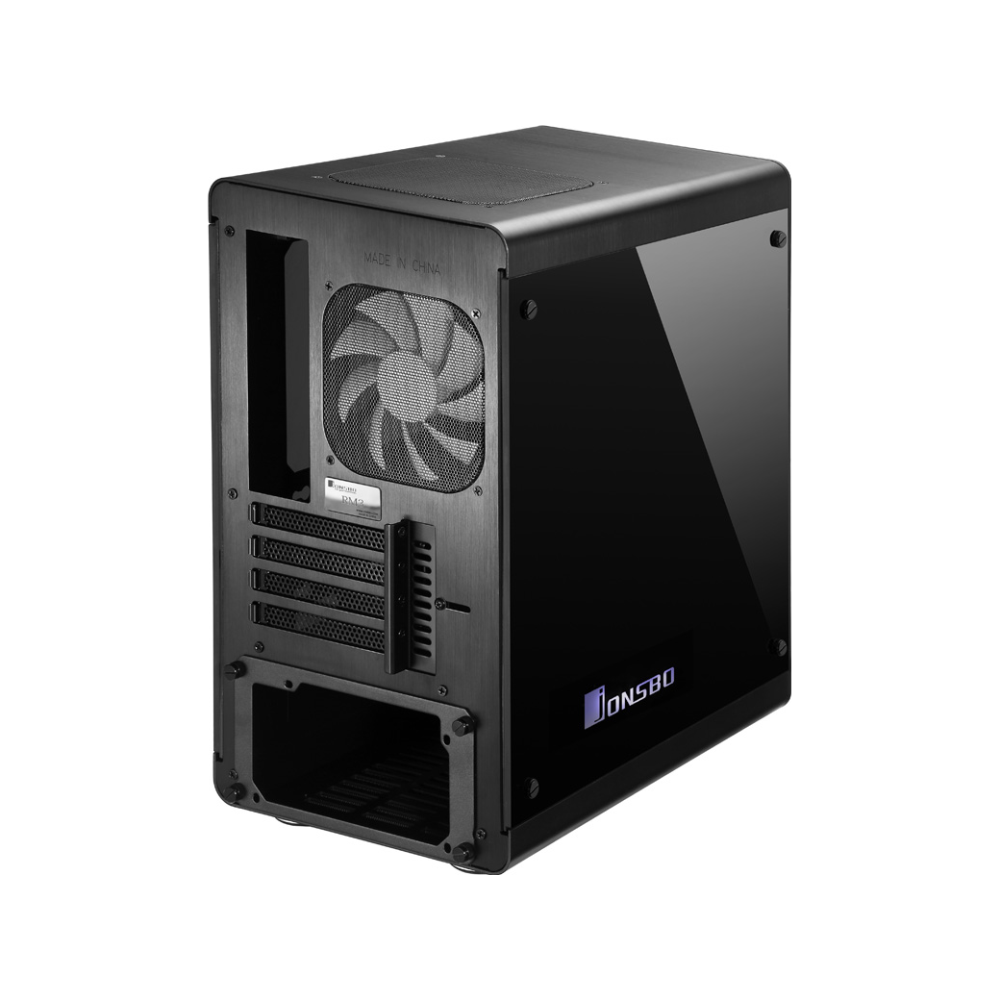 A large main feature product image of Jonsbo RM3 RGB Black mATX Case w/Tempered Glass Side Panel
