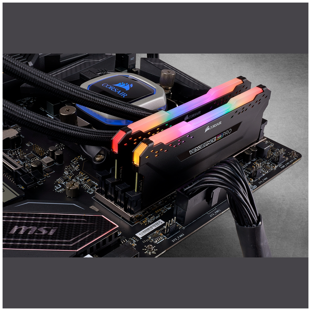 A large main feature product image of Corsair 16GB Kit (2x8GB) DDR4 Vengeance RGB PRO 2666MHz C16