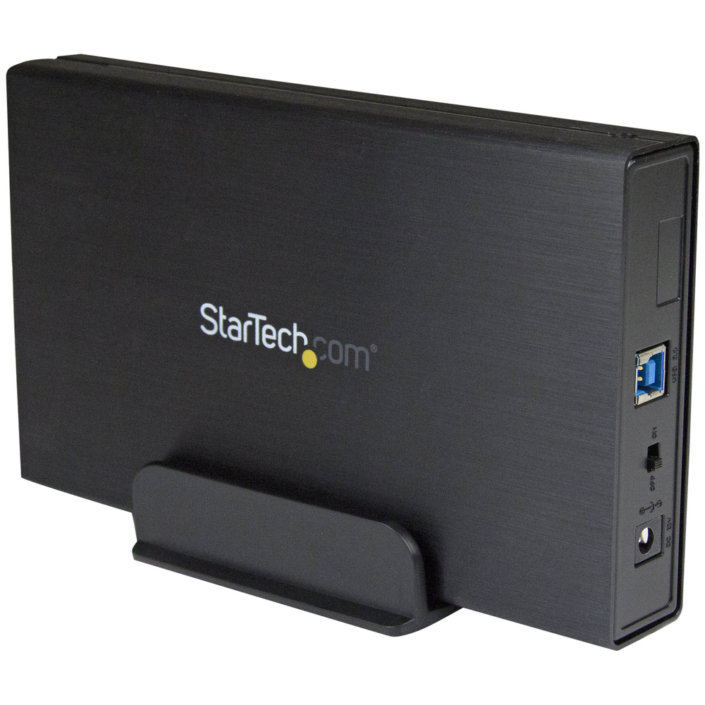 A large main feature product image of Startech 3.5in USB 3.0 External SATA Hard Drive Enclosure w/ UASP - Black