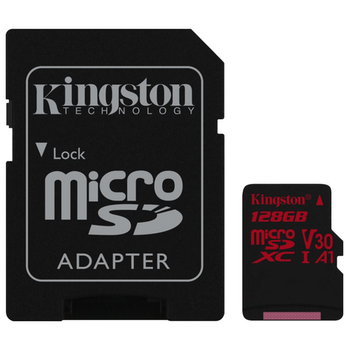 Product image of Kingston Canvas React 128GB Class 10 UHS-1 MicroSD Card (inc. SD Adapter) - Click for product page of Kingston Canvas React 128GB Class 10 UHS-1 MicroSD Card (inc. SD Adapter)