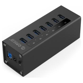 Product image of ORICO Aluminium 7 Port USB3.0 HUB - Black - Click for product page of ORICO Aluminium 7 Port USB3.0 HUB - Black