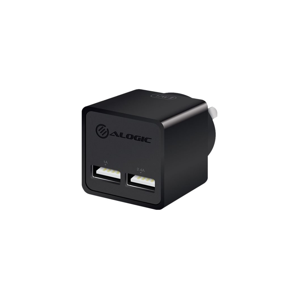 A large main feature product image of ALOGIC 2 Port USB Mini Wall Charger - 2.4A + 1A - 17W - Black
