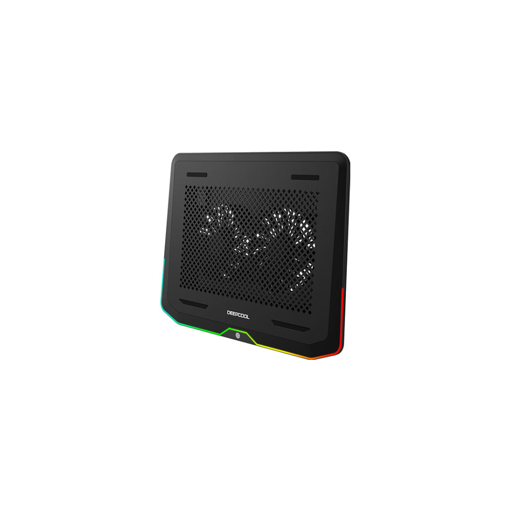 A large main feature product image of Deepcool N80 RGB Laptop Cooling Pad