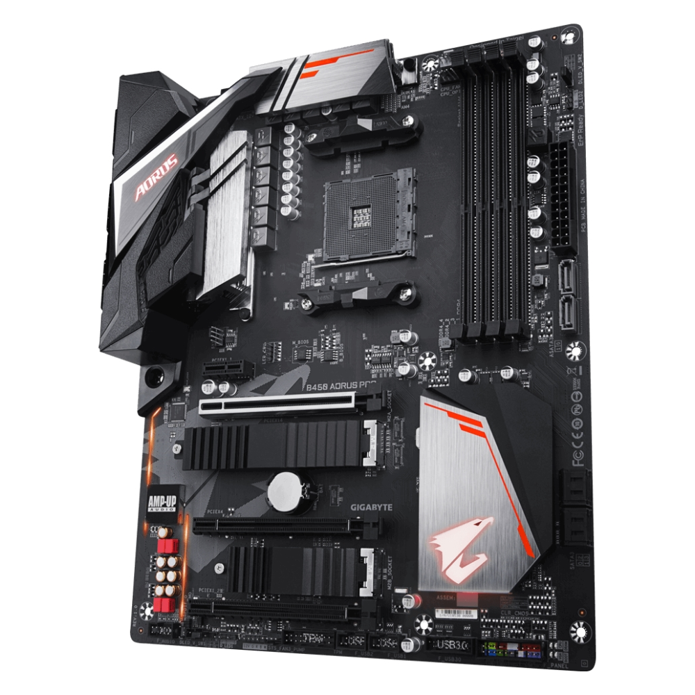 A large main feature product image of Gigabyte B450 AORUS Pro AM4 ATX Desktop Motherboard