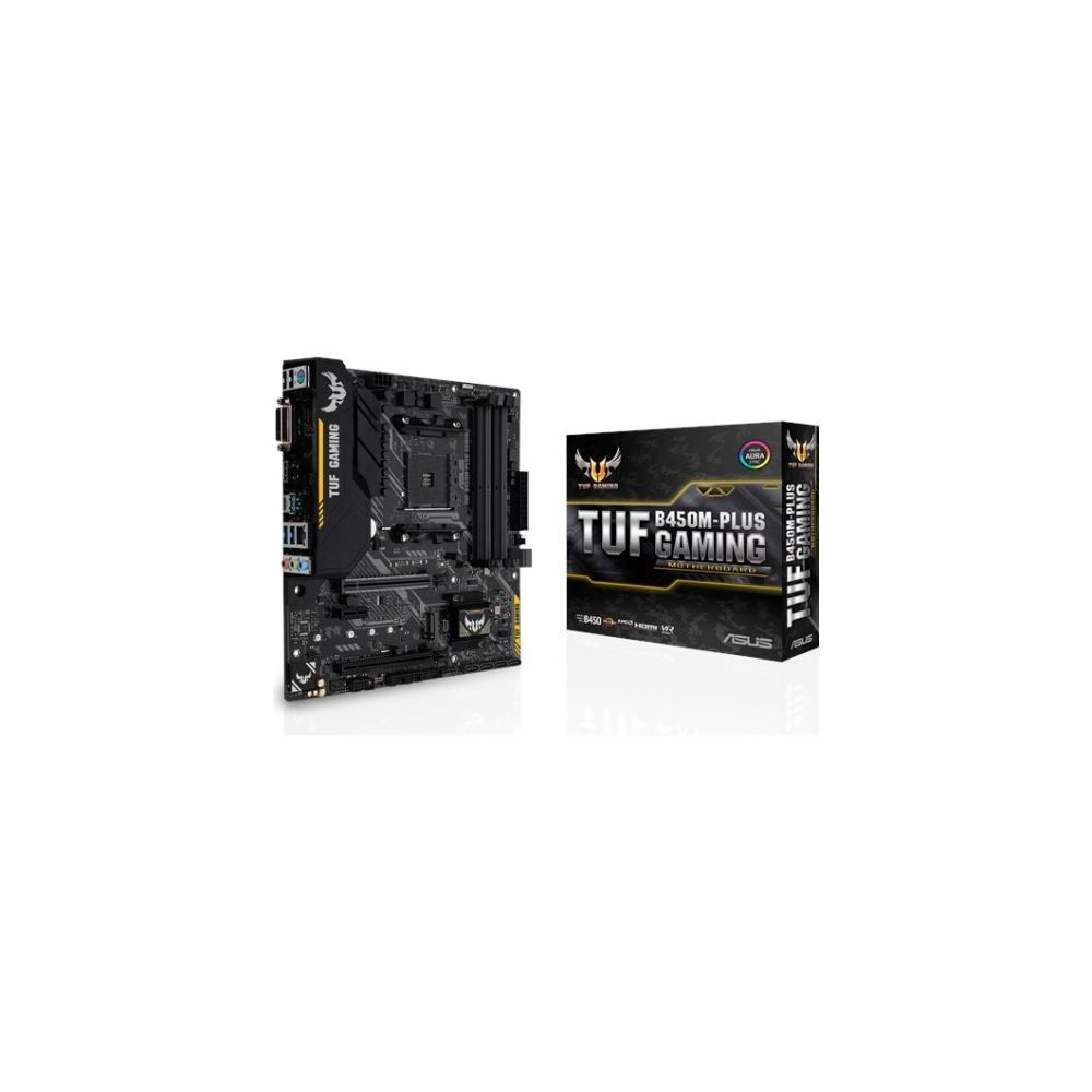 A large main feature product image of ASUS TUF B450M-PLUS Gaming AM4 mATX Desktop Motherboard