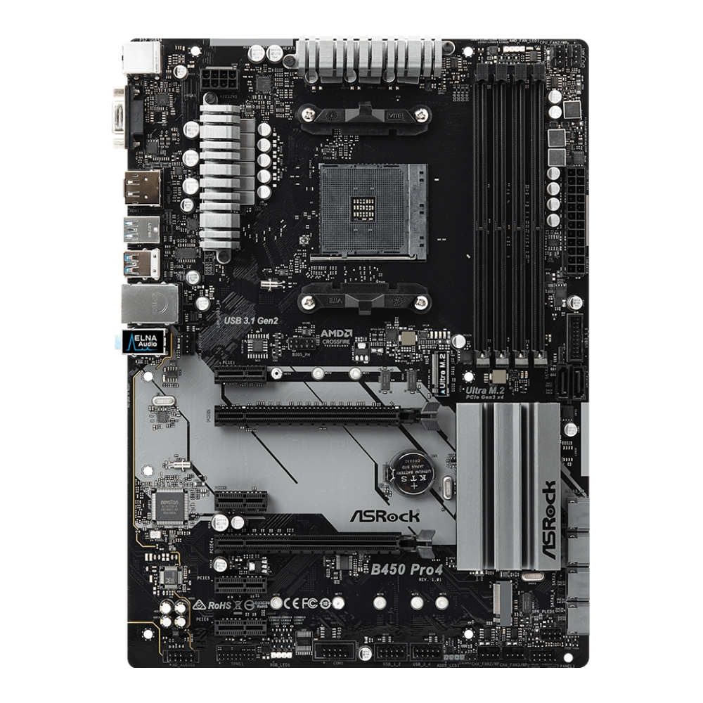 A large main feature product image of ASRock B450 Pro4 AM4 ATX Desktop Motherboard