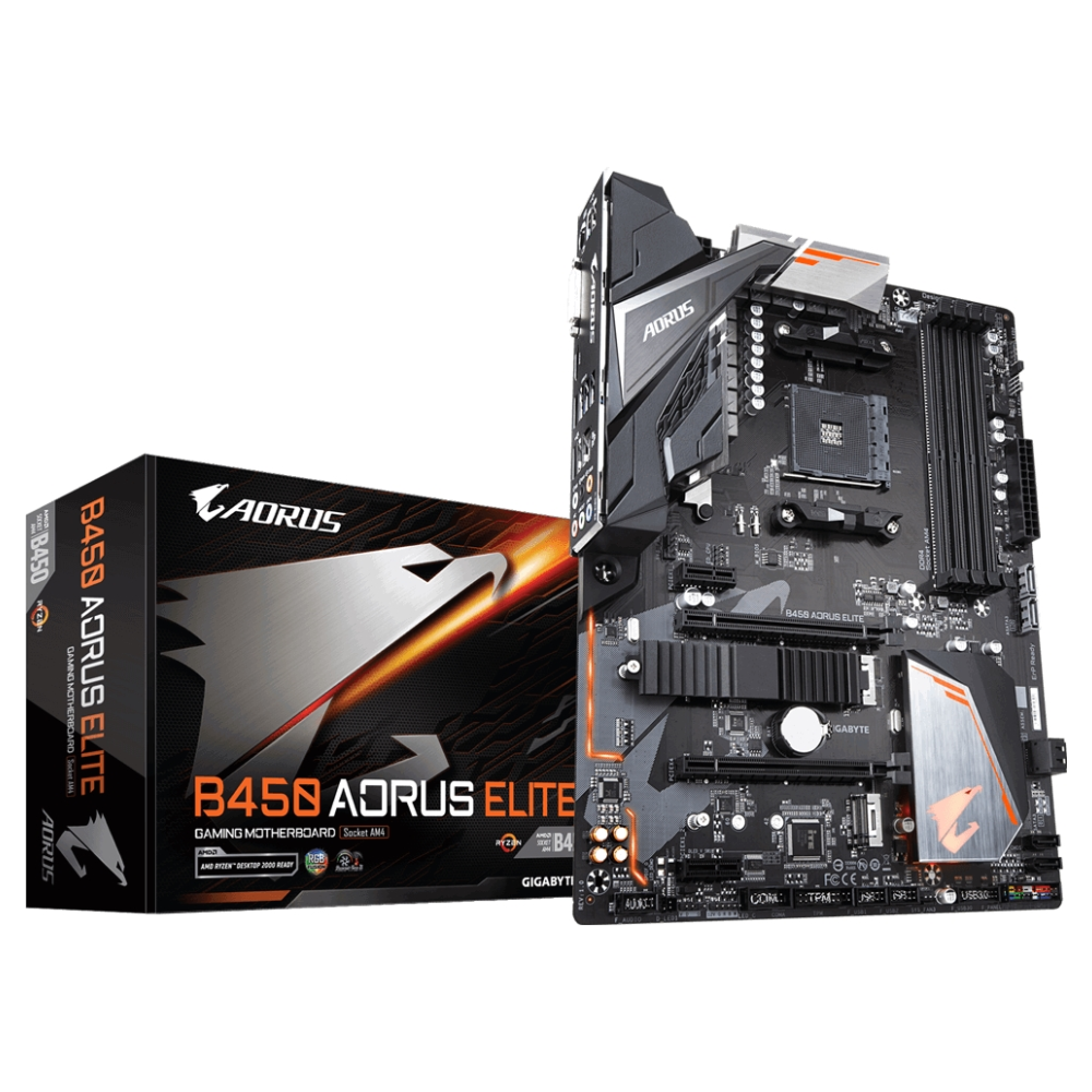 A large main feature product image of Gigabyte B450 AORUS Elite AM4 ATX Desktop Motherboard