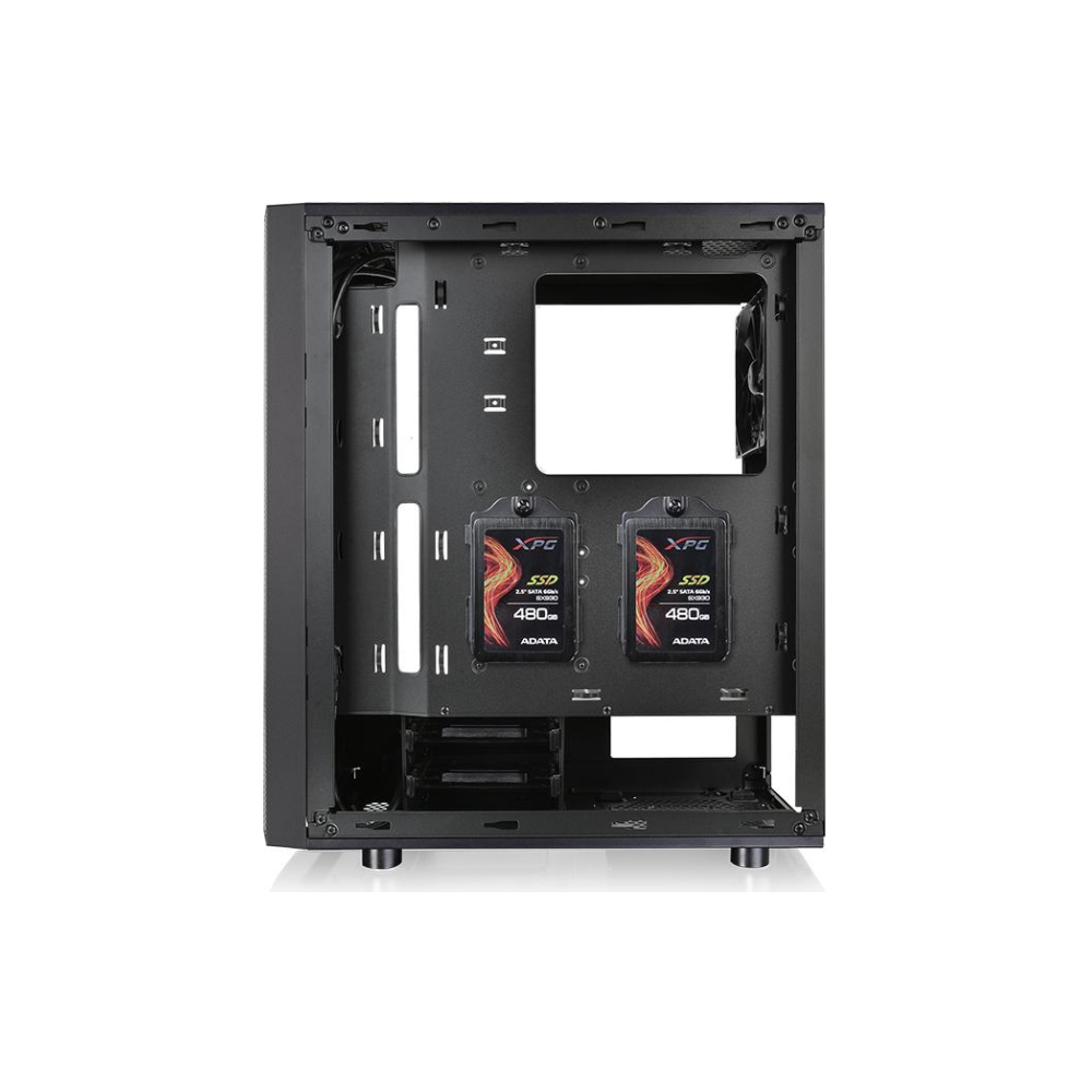 A large main feature product image of Thermaltake Versa J24 Tempered Glass RGB Mid Tower Case