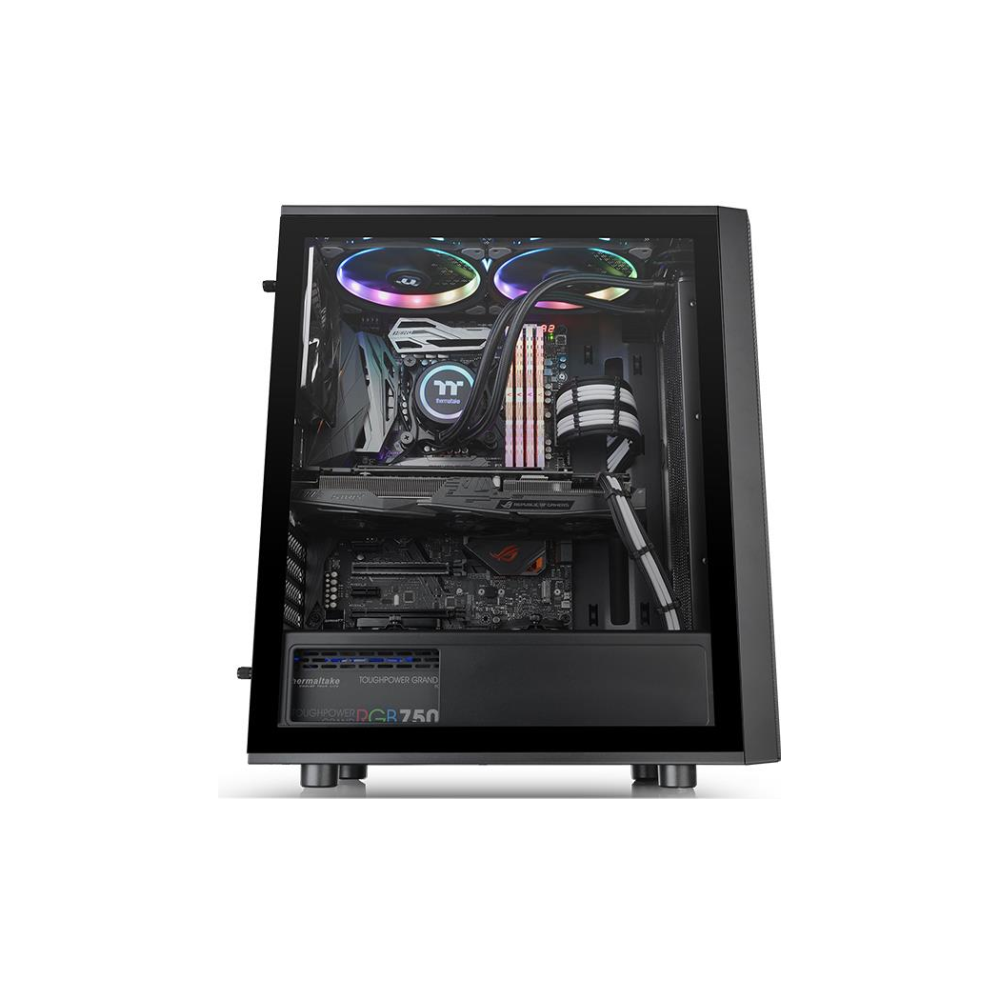 A large main feature product image of Thermaltake Versa J25 Tempered Glass RGB Mid Tower