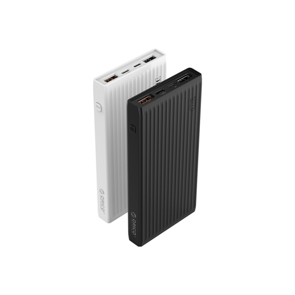 A large main feature product image of ORICO 20000mAh USB-A Type-C & Micro B Smart Power Bank - Black