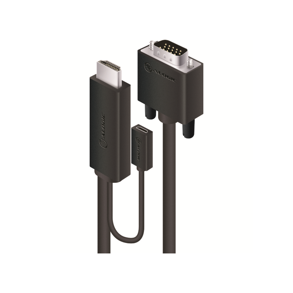 A large main feature product image of ALOGIC SmartConnect 2m HDMI to VGA Cable