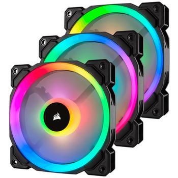 Product image of Corsair LL120 120mm RGB PWM Fan Triple Pack w/Lighting Node Pro - Click for product page of Corsair LL120 120mm RGB PWM Fan Triple Pack w/Lighting Node Pro