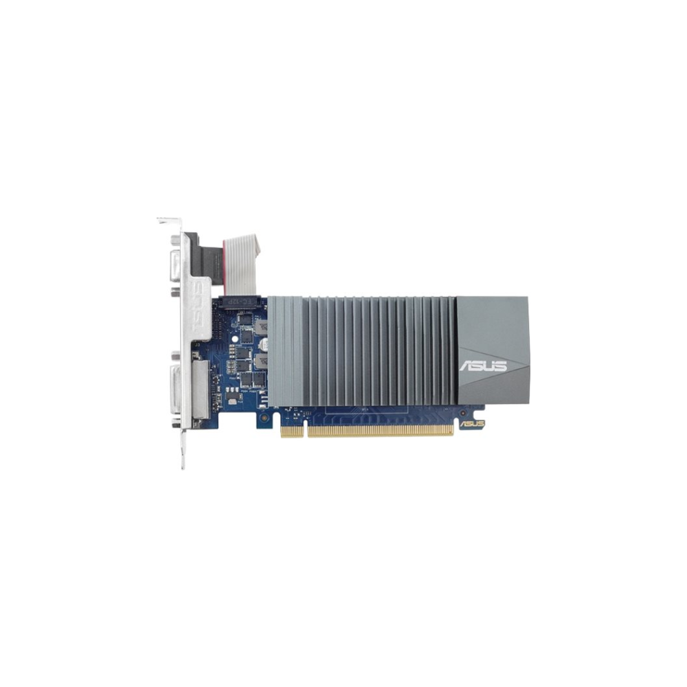 A large main feature product image of ASUS GeForce GT 710 2GB GDDR5