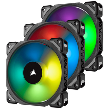 Product image of Corsair ML120 Pro 120mm Mag-Lev RGB PWM Cooling Fan Triple Pack w/Lighting Node Pro - Click for product page of Corsair ML120 Pro 120mm Mag-Lev RGB PWM Cooling Fan Triple Pack w/Lighting Node Pro