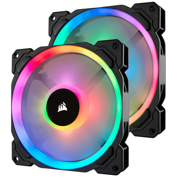 Product image of Corsair LL140 140mm RGB PWM Fan Twin Pack w/Lighting Node Pro - Click for product page of Corsair LL140 140mm RGB PWM Fan Twin Pack w/Lighting Node Pro