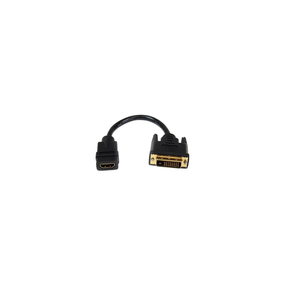 A large main feature product image of Startech 8in HDMI to DVI Dongle Adapter Cable - HDMI Female to DVI-D Male