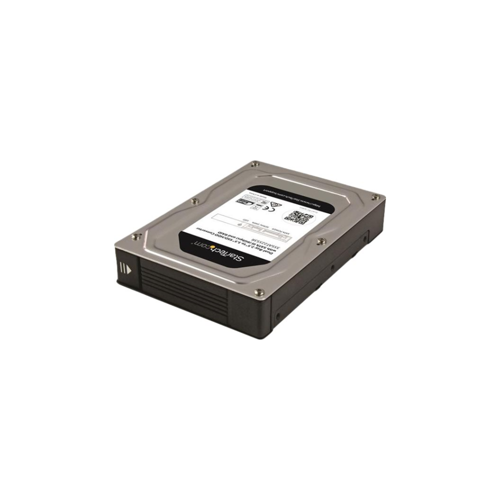 "A large main feature product image of Startech Dual-Bay 2.5"" to 3.5"" SATA Hard Drive Adapter Enclosure with RAID"