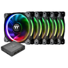 A product image of Thermaltake Riing Plus 5 Pack 120mm RGB LED Premium Edition Fans w/ Controller