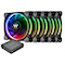A product image of Thermaltake Riing Plus 5 Pack 120mm RGB LED Premium Edition Fans w/ Controller - Click to browse this related product