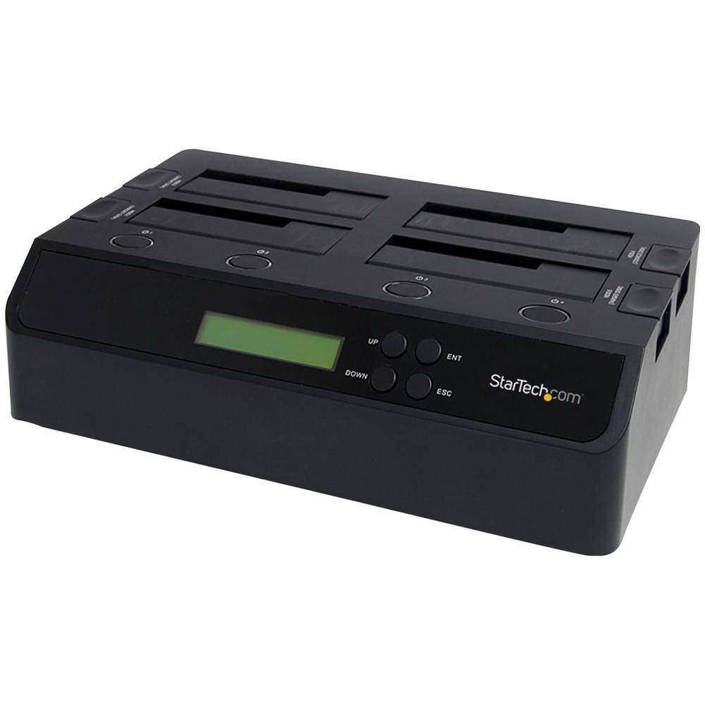 A large main feature product image of Startech 4 Bay USB 3.0 eSATA to SATA 1:3 Hard Drive Duplicator Dock