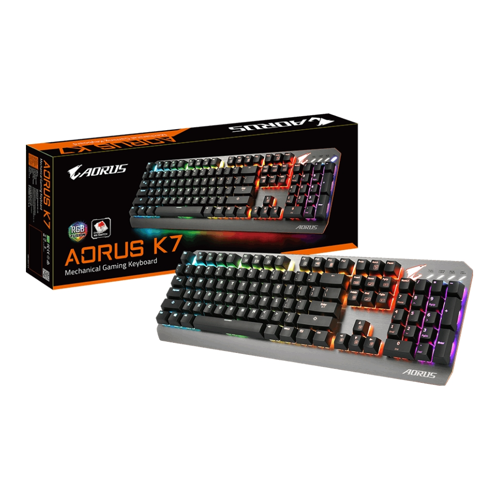 A large main feature product image of Gigabyte Aorus K7 RGB Mechanical Keyboard (MX Red)