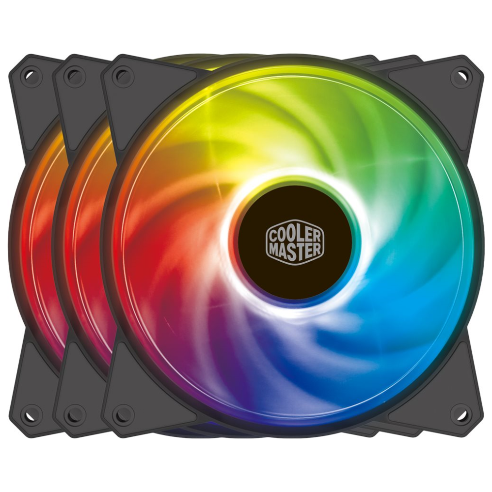 A large main feature product image of Cooler Master MasterFan MF120R 120mm ARGB 3-in-1 Kit