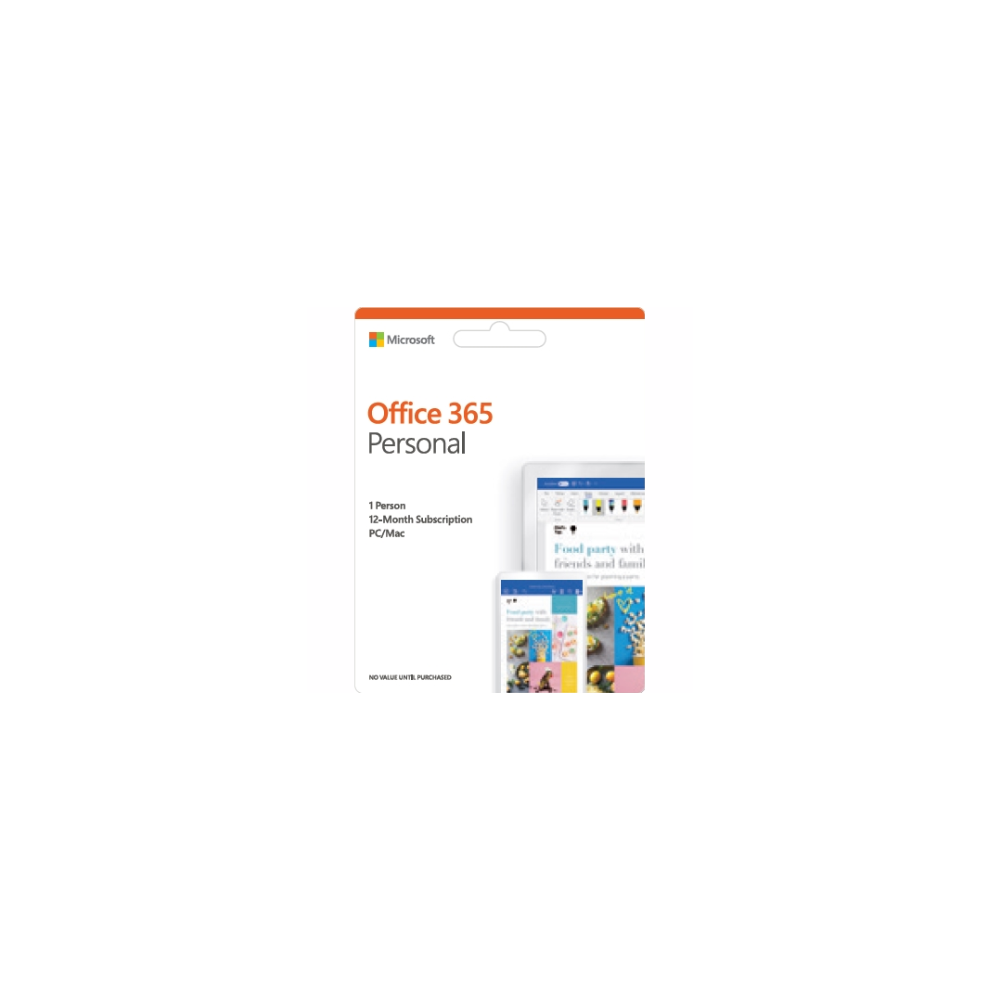 A large main feature product image of Microsoft Office 365 Personal 1 Device 1YR Subscription PKC