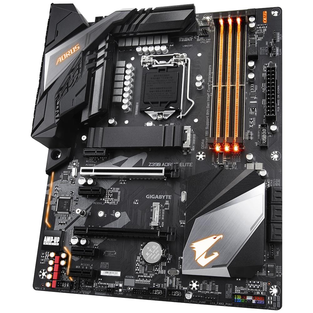 A large main feature product image of Gigabyte Z390 Aorus Elite LGA1151-CL Desktop Motherboard