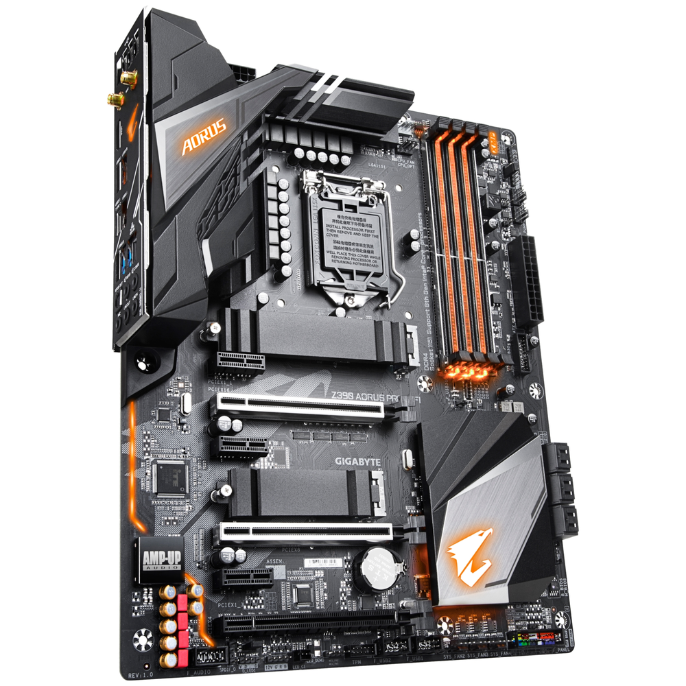 A large main feature product image of Gigabyte Z390 Aorus Pro WiFi LGA1151-CL Desktop Motherboard