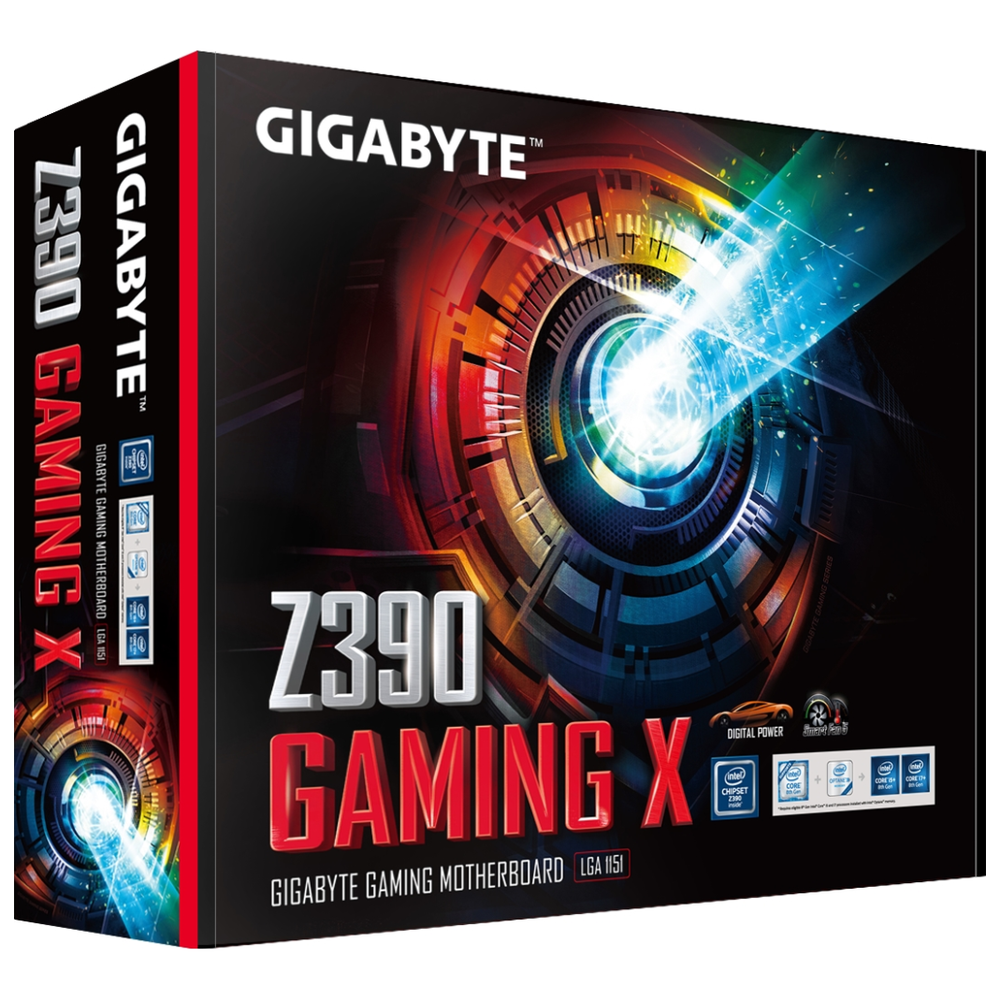 A large main feature product image of Gigabyte Z390 Gaming X LGA1151-CL Desktop Motherboard
