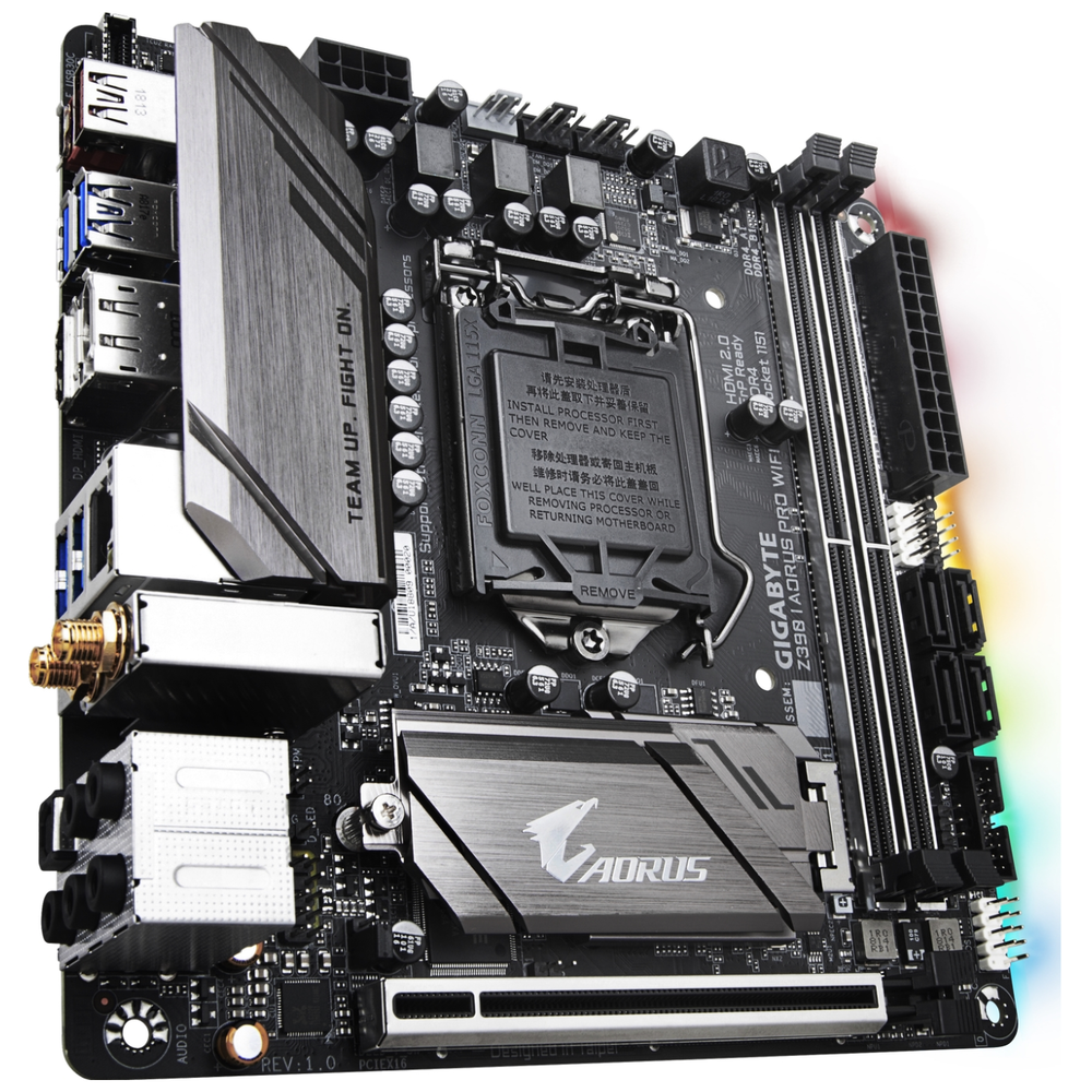 A large main feature product image of Gigabyte Z390I AORUS Pro WiFi LGA1151-CL mITX Desktop Motherboard