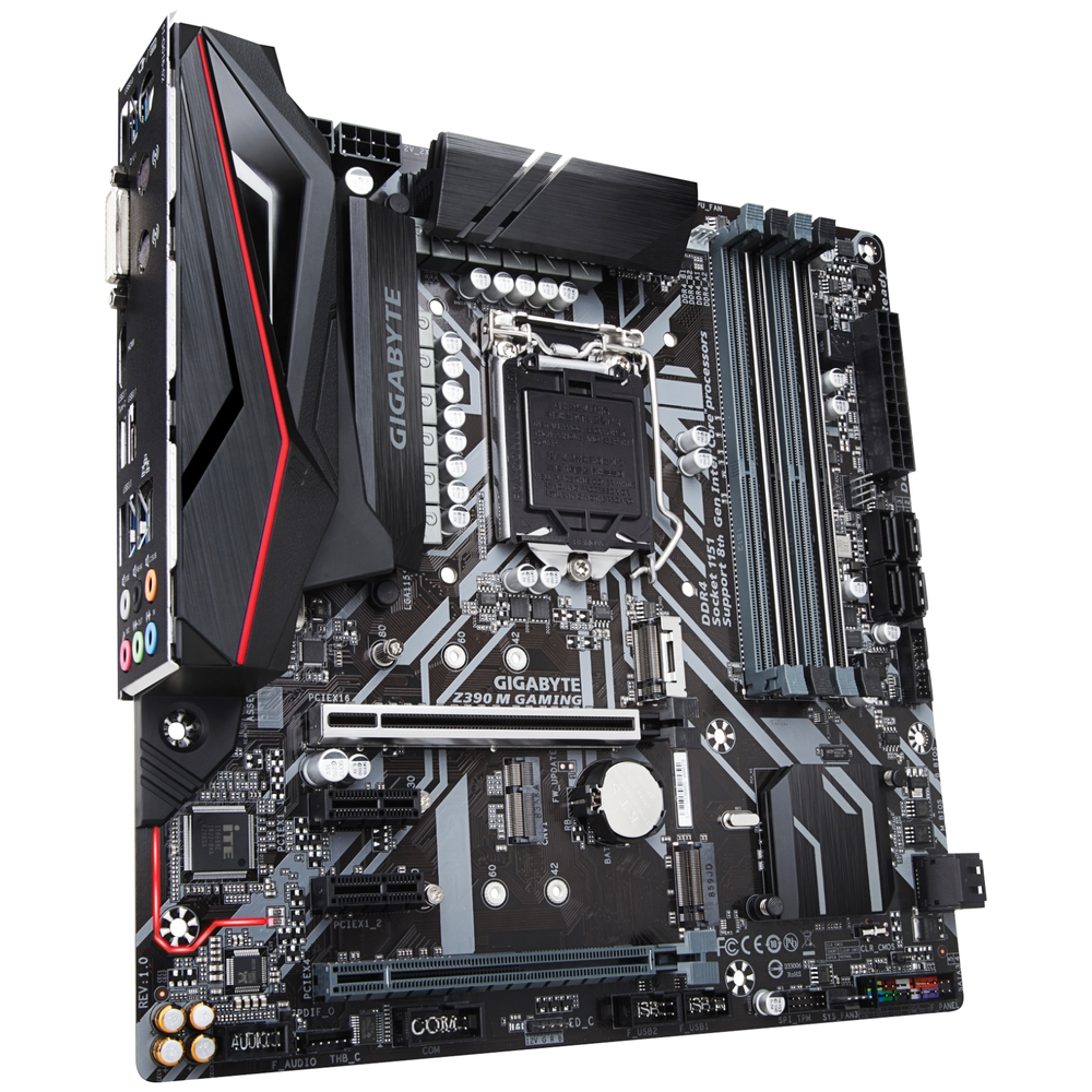 A large main feature product image of Gigabyte Z390M Gaming LGA1151-CL mATX Desktop Motherboard