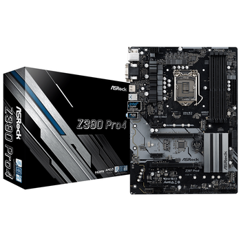 Product image of ASRock Z390 Pro4 LGA1151-CL ATX Desktop Motherboard - Click for product page of ASRock Z390 Pro4 LGA1151-CL ATX Desktop Motherboard