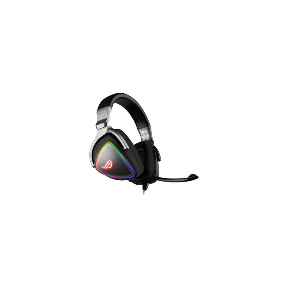 A large main feature product image of ASUS ROG Delta RGB USB-C Gaming Headset