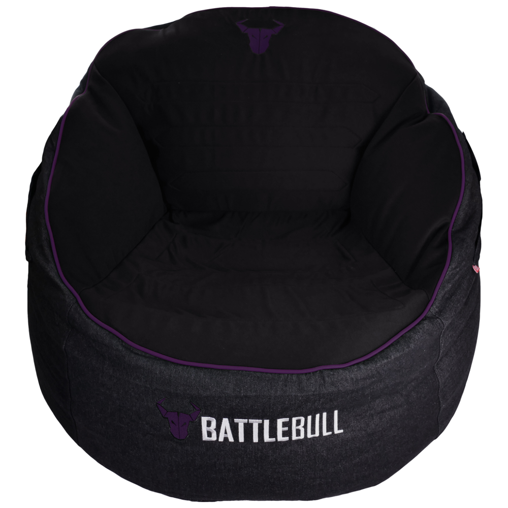 A large main feature product image of BattleBull Bunker Black/Purple Bean Bag