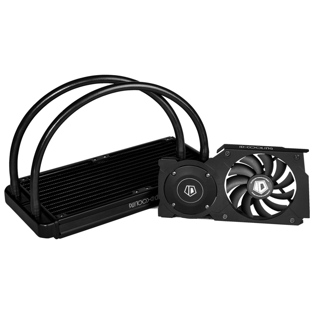 A large main feature product image of ID-COOLING FrostFlow 240VGA GPU Liquid Cooler