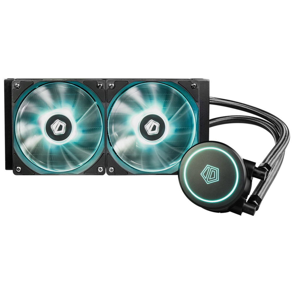 A large main feature product image of ID-COOLING AuraFlow X 240 RGB AIO CPU Liquid Cooler
