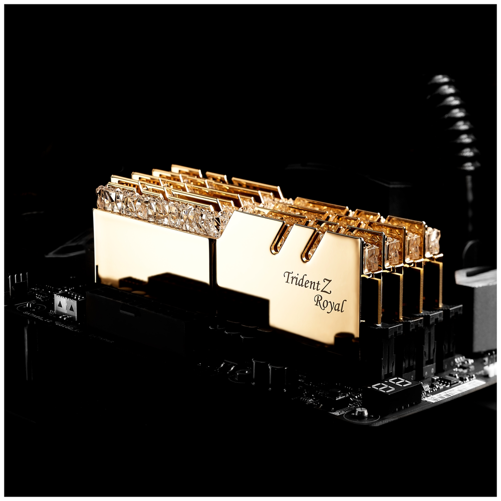 A large main feature product image of G.Skill 16GB (2x8GB) DDR4 Trident Z Royal Gold RGB C16 3200Mhz