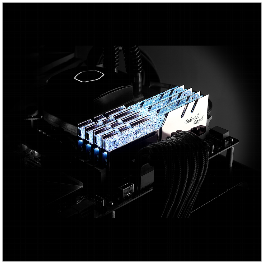 A large main feature product image of G.Skill 16GB Kit (2x8GB) DDR4 Trident Z Royal Silver RGB C16 3200Mhz