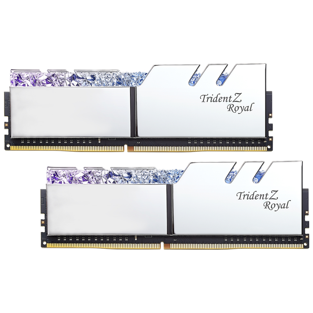 A large main feature product image of G.Skill 16GB Kit (2x8GB) DDR4 Trident Z Royal Silver RGB C18 3600Mhz