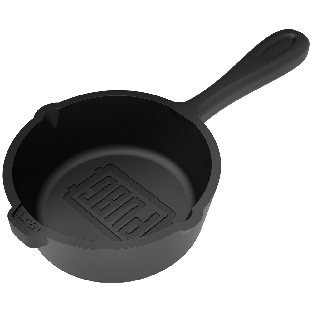 A large main feature product image of NZXT Puck Headset Hanger PUBG Frying Pan Edition