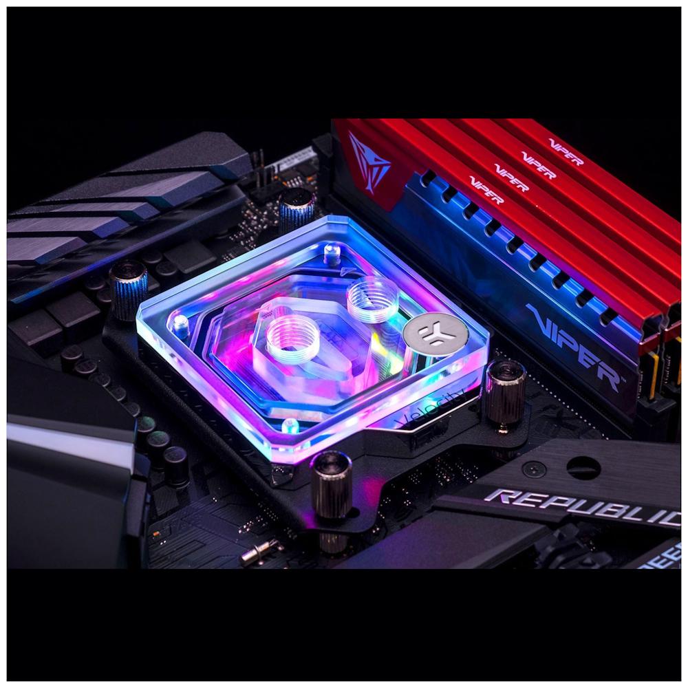 A large main feature product image of EK Quantum Velocity Addressable D-RGB AMD Nickel Plexi CPU Waterblock