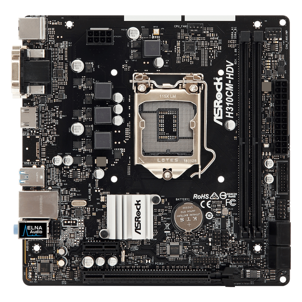A large main feature product image of ASRock H310CM-HDV LGA1151-CL mATX Desktop Motherboard
