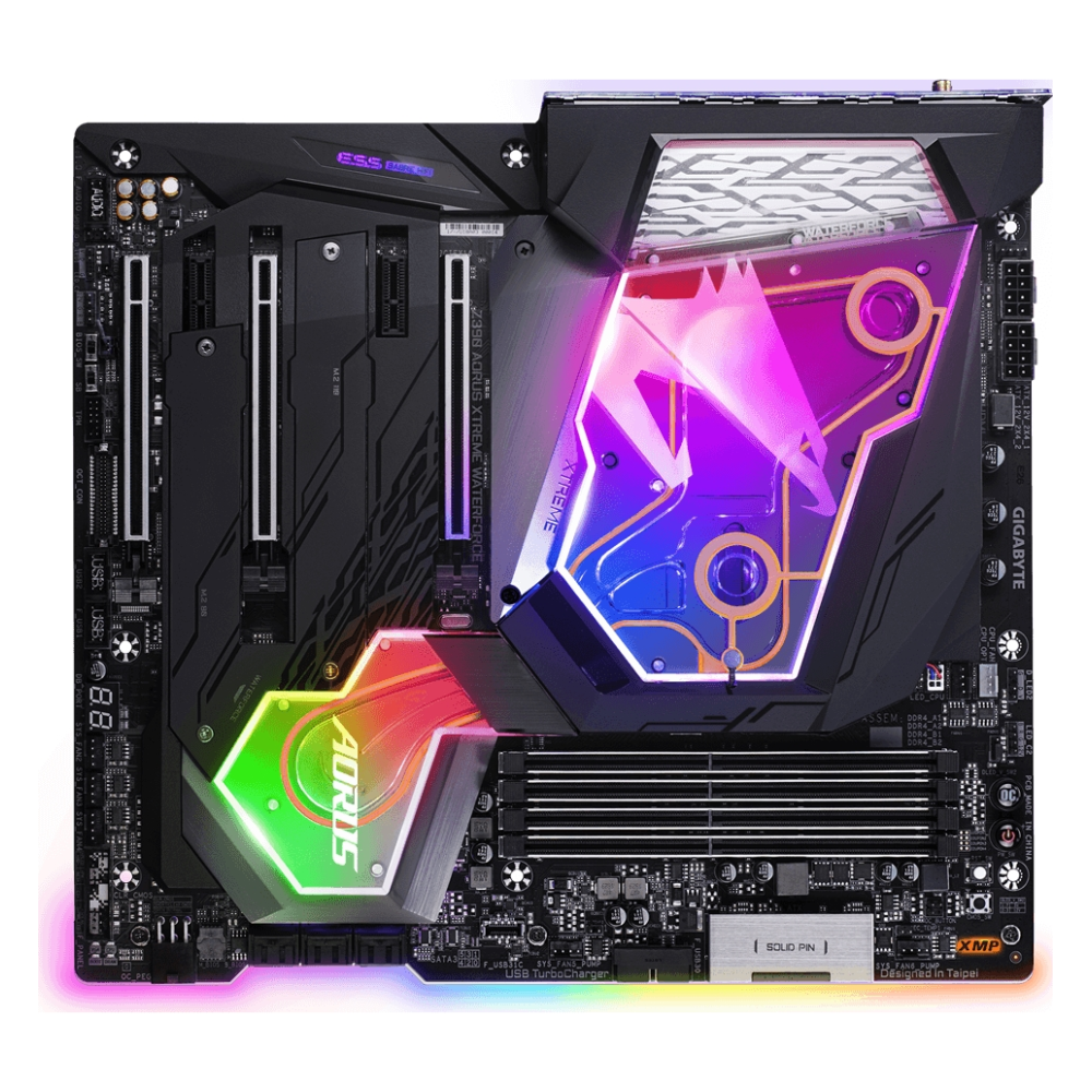 A large main feature product image of Gigabyte Z390 Aorus XTREME WATERFORCE LGA1151-CL E-ATX Desktop Motherboard